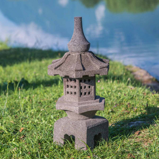 Lanterne japonaise en pierre de lave naturel h 55 cm - Lanterne jardin ...