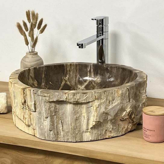 Lavabo de salle de bain en bois pétrifié fossilisé beige 40 cm