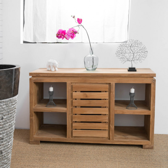 commode de salle de bain en bois de teck massif nature. Black Bedroom Furniture Sets. Home Design Ideas