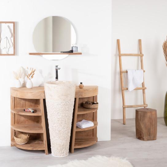 Meuble sous vasque simple vasque en bois teck massif vasque en marbre - Meuble salle de bain 140 cm simple vasque ...