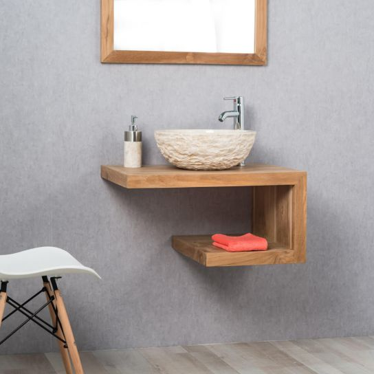 Meuble de salle de bain en teck PURE droit 70cm