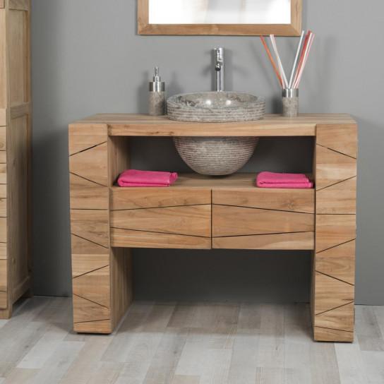 Meuble sous vasque simple vasque en bois teck massif Meuble salle de bain en teck pas cher