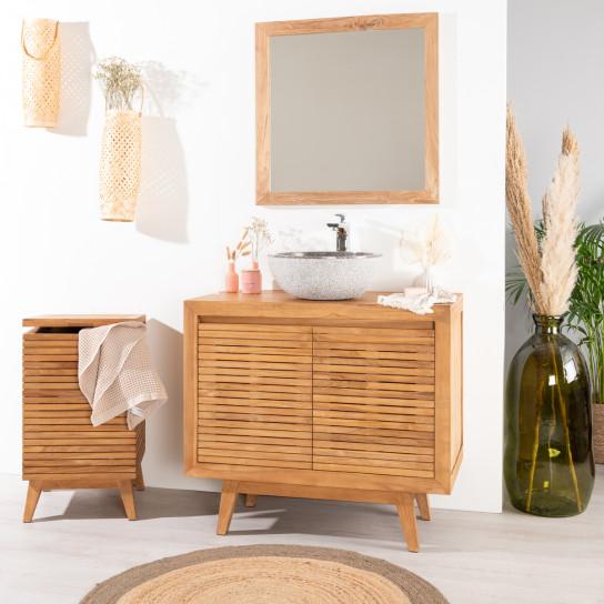 Meuble sous vasque simple vasque en bois teck massif for Meuble teck salle de bain