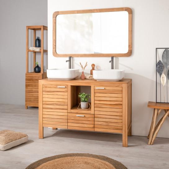 meuble sous vasque double vasque en bois teck massif courchevel naturel l 120 cm. Black Bedroom Furniture Sets. Home Design Ideas