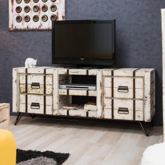 meuble tv de salon en bois de mindi massif loft rectangle blanc l 160 cm. Black Bedroom Furniture Sets. Home Design Ideas
