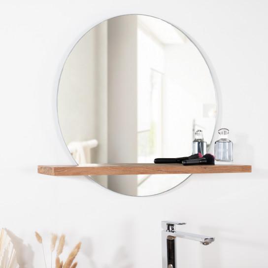 Miroir de salle de bain tablette en bois massif teck - Glace de salle de bain avec eclairage ...