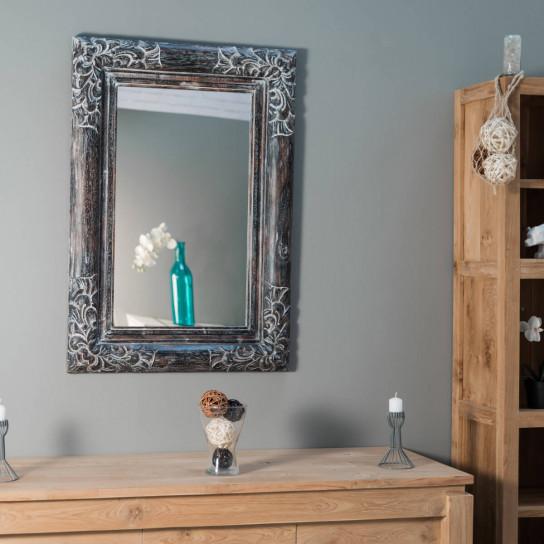 Miroir en bois patiné Valence 70 X 100 Cérusé gris