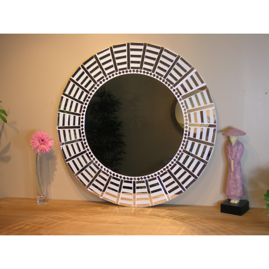 Promotion 39 miroir mosaique design blanc argent 80cm for Miroir mosaique design
