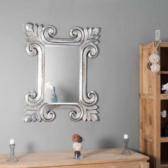 Miroir Tolède en bois patiné argenté 80 X 100