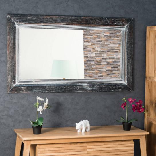Miroir venise en bois patin c rus 140cm x 80cm for Miroir bois salon
