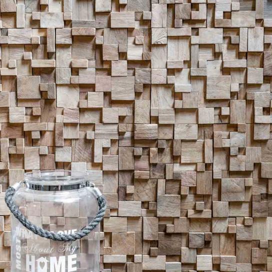 Parement mosaïque en teck recyclé naturel carré irrégulier 30cm x30cm
