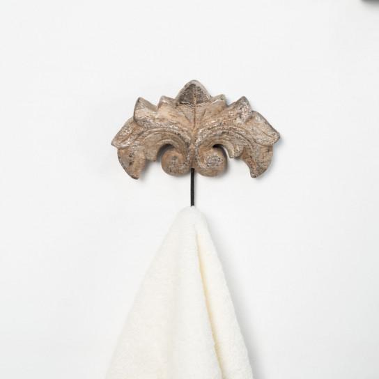 Porte serviette mural crochet baroque bronze