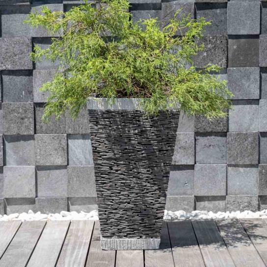 Pot bac jardinière carré ardoise 80cm jardin terrasse pierre naturelle