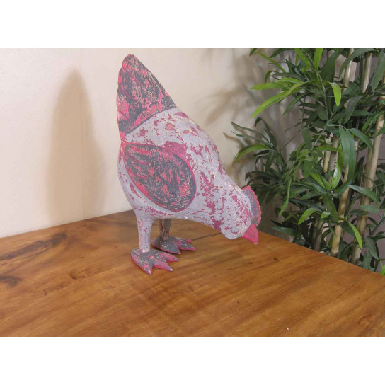Poule collection d'antan en bois patiné cérusé gris rouge 24cm