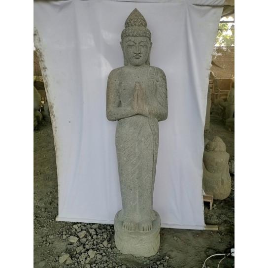 Statue De Jardin Bouddha Debout Pierre L 36 Cm X P