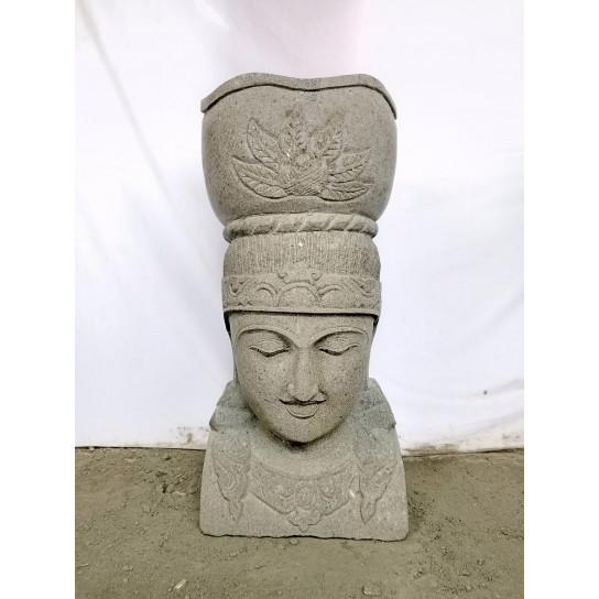 Statue D Esse Balinaise En Pierre Volcanique Pot Jardin 70 Cm