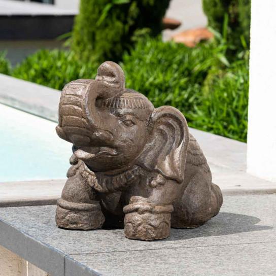 Statue Eléphant assis en pierre 40cm brun antique