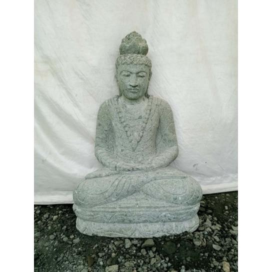 Statue en pierre bouddha assis jardin ext rieur collier 80 cm for Bouddha deco exterieur