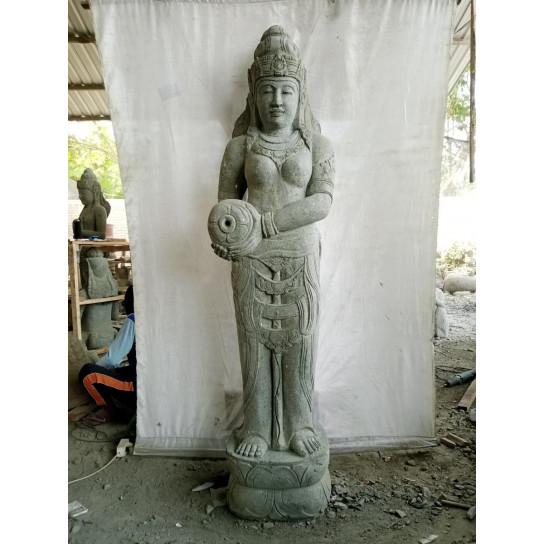Statue en pierre naturelle verseuse d'eau déesse Dewi  2 m
