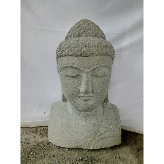 statue de jardin buste de bouddha en pierre naturelle pierre volcanique naturel h 70 cm. Black Bedroom Furniture Sets. Home Design Ideas