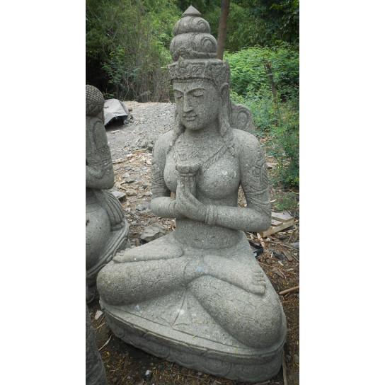 Statue jardin en pierre naturelle déesse balinaise fleur 1m20