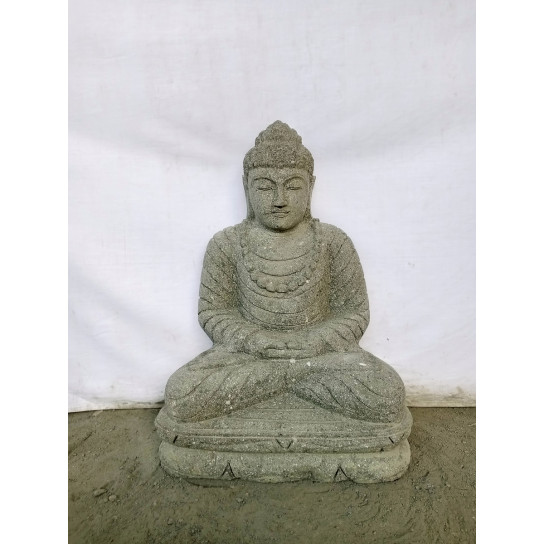 statue jardin exterieur bouddha assis pierre volcanique offrande 52 cm. Black Bedroom Furniture Sets. Home Design Ideas
