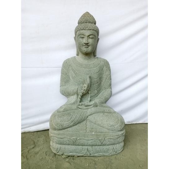 Statue jardin zen bouddha assis en pierre naturelle - Bouddha jardin zen ...