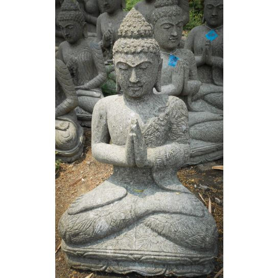 statue jardin zen bouddha assis en pierre volcanique pri re 76cm. Black Bedroom Furniture Sets. Home Design Ideas