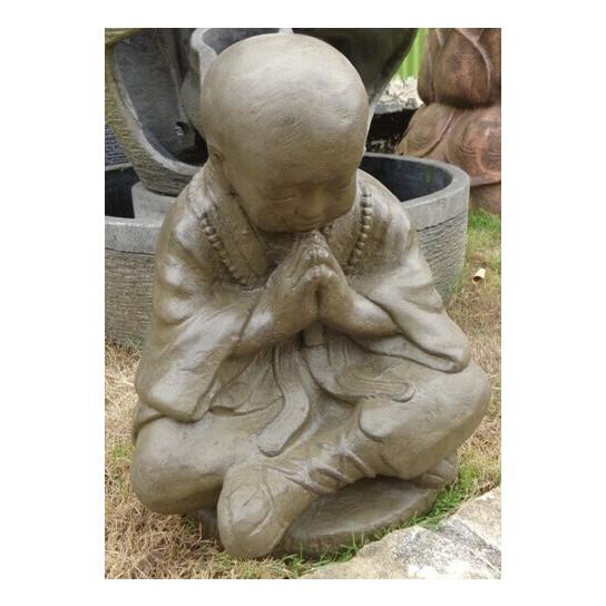 Statue moine shaolin en pierre brun antique 50 cm