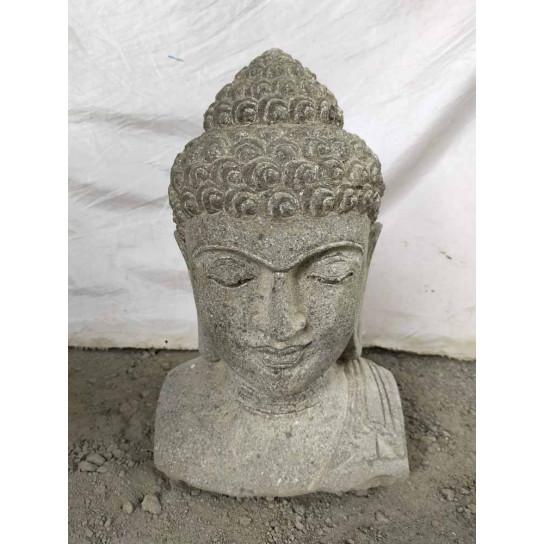 statue terrasse zen Buste de Bouddha en pierre volcanique 50 cm