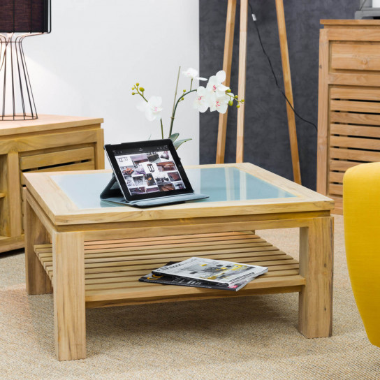Table basse de salon en bois de teck massif zen carr e - Table basse 80 x 80 ...