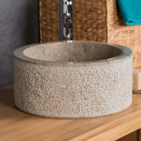 Vasque poser en marbre elbe grise taupe d 35cm for Vasque marbre salle de bain