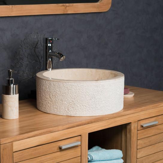 Vasque à poser de salle de bain en marbre ELBE crème 40cm