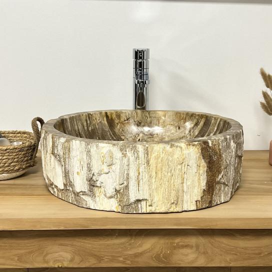 Vasque de salle de bain à poser en bois pétrifié fossilisé marron 48 CM