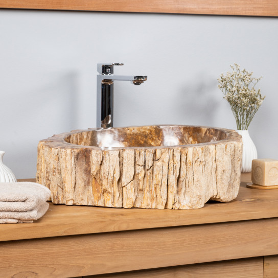 Vasque de salle de bain à poser en bois pétrifié marron 51 cm Article précédent