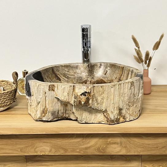 Vasque de salle de bain en pierre bois pétrifié fossilisé noir 43 CM
