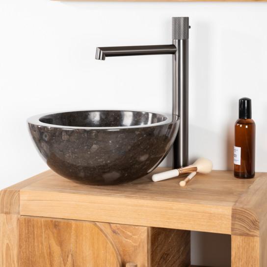 Lavabo salle de bain Vasque Ronde BARCELONE à poser en marbre Noir - Diamètre 30 cm