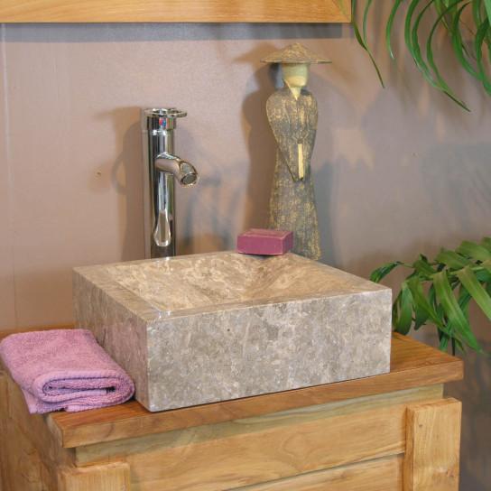 Vasque salle de bain à poser Alexandrie rectangle 30cm x 30cm grise