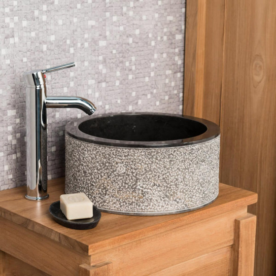 Vasque salle de bain en marbre ELBE noir 35cm
