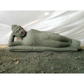 Bouddha allongé statue en pierre volcanique extérieur zen 1 m