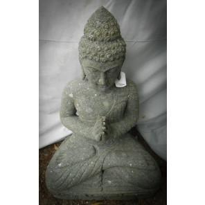 Bouddha assis en pierre volcanique de jardin position Prière 50 cm