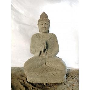 Bouddha en pierre position chakra et chapelet de jardin 1m