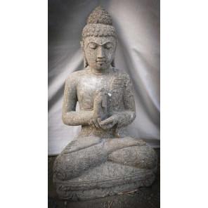 Bouddha en pierre volcanique assis de jardin position Chakra zen 80cm