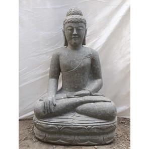 Bouddha en pierre volcanique position offrande d'extérieur 50 cm