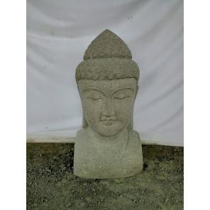 Buste statue extérieur Bouddha en pierre volcanique 70 cm
