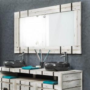 Miroir miroir de salle de bain en bois de teck massif for Grand miroir salle de bain