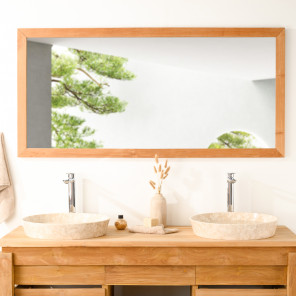 Grand Miroir rectangle en teck massif 145x70