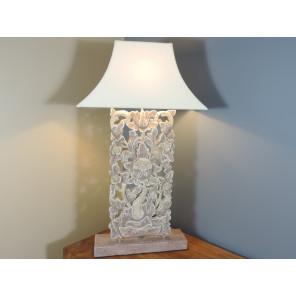 Lampe à poser arabesque fleurs en bois patiné gris prune 80cm