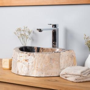 Lavabo de salle de bain en bois p�trifi� fossilis� 40 CM