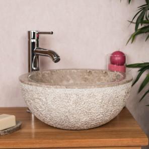 Lave mains en marbre à poser STROMBOLI gris taupe 35cm